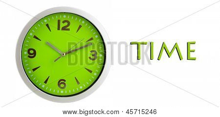 Round office clock isolated on white