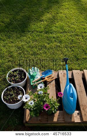 Gardening tools and flowers on a diy pot made of wooden pallet