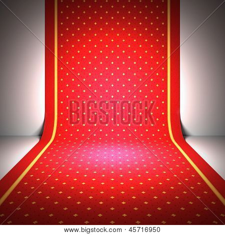 A 3d illustration of an elegant red carpet.