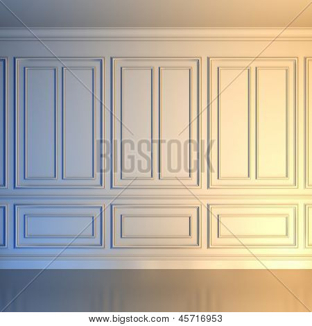 A 3d illustration of a white wall in classical style.