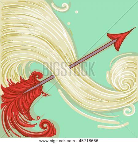 Illustration of Red Arrow for Sagittarius Design