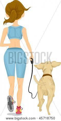 Illustration showing Back View of a Girl Jogging with her Dog