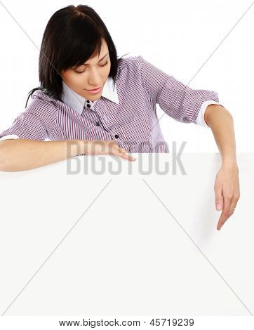 Beautiful young woman holding empty white board, isolated on white background