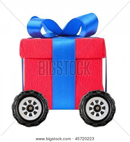 Red gift box with blue ribbon on wheels
