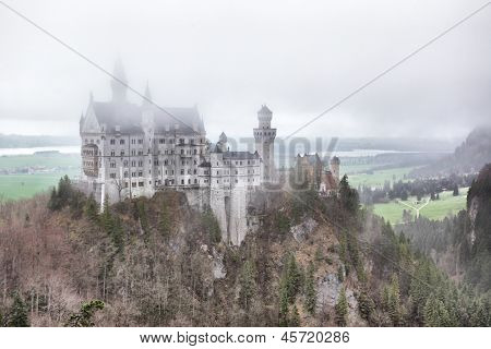 Neuschwanstein castle in fog, Germany