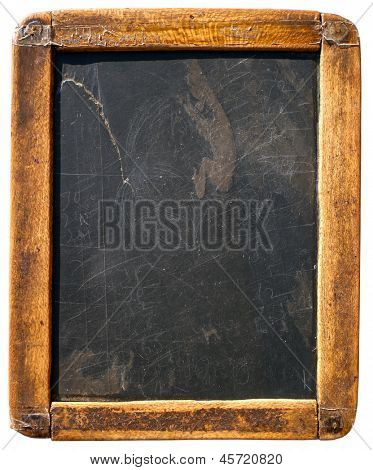 Vintage slake blackboard isolated on white