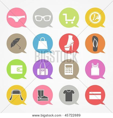 Shopping web icons set in color speech clouds