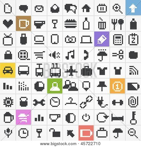 Business, travel, miscellanous, shopping, computing, media icons set