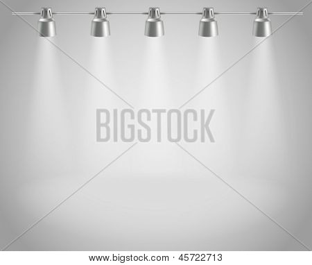 Photorealistic bright stage with projectors. Presentation vector template