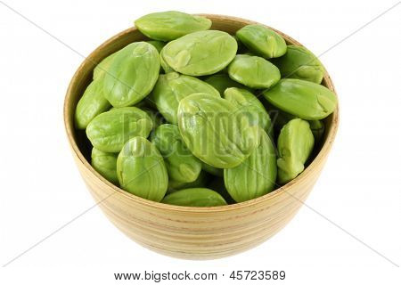 A Bowl of Stink Bean (Parkia speciosa, Bitter bean), isolated on white background