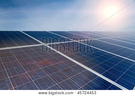 Photovoltaic system with solar panels for the production of renewable energy through solar energy