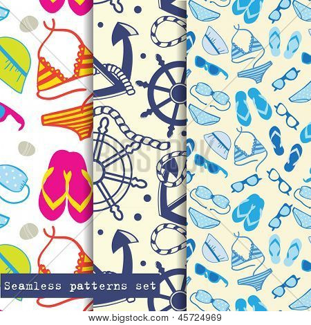 Set of three seamless pattern. Sea and beach theme. Easy editable, vector format.