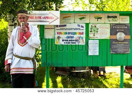 VINNICI, LENINGRAD REGION, RUSSIA - JUNE 10: Local man during celebrate the annual holiday Vepsian national culture