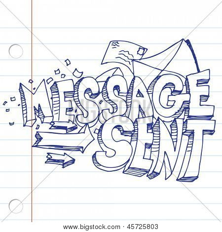 An image of a message sent drawing on notebook paper.