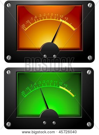 Analog Electronic VU Signal Meter isolated illustration