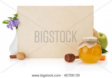 cooking recipes note paper and food on white background