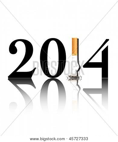 New Year's resolution Quit Smoking concept with the i in 2014 being replaced by a stubbed out cigarette. EPS10 vector format.
