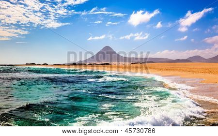 Landscape with sea and mountain in Fuerteventura, Canary islands