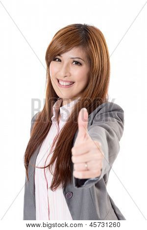 Confident business executive woman of Asian give you an excellent sign, half length closeup portrait on white background.