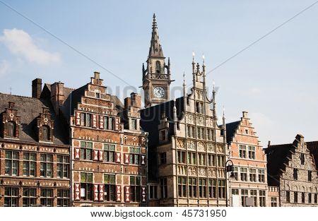Facade of houses along the Graslei in Ghent, Belgium