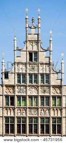 Facade of a house along the Graslei in Ghent, Belgium
