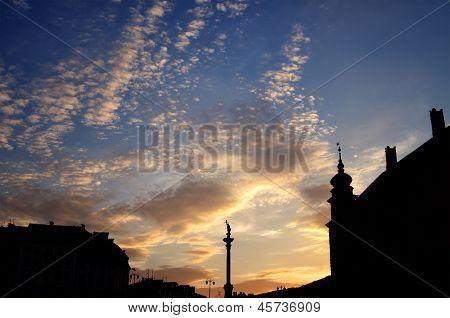 Column And Statue Of King Sigismund Iii Vasa At Sunset, Warsaw, Poland