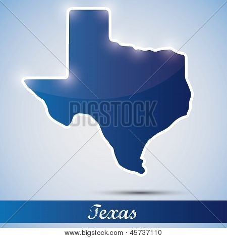 shiny icon in form of Texas state, USA