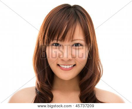 Female beauty portrait. Face closeup of stunning beautiful mixed Chinese Asian woman. Isolated on white background.