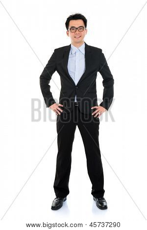 Full body portrait of happy smiling Asian business man, isolated on white background