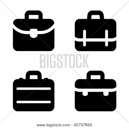 Four variants of briefcase icon