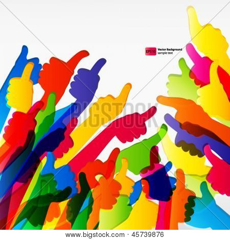 Abstract background with hand gestures.  Vector illustration.