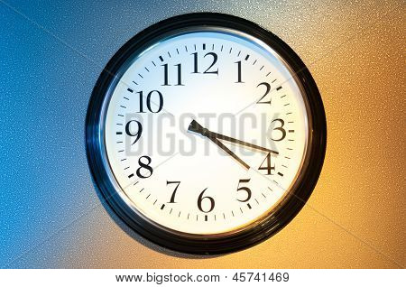 Black-and-white Clock With Light And Shade.