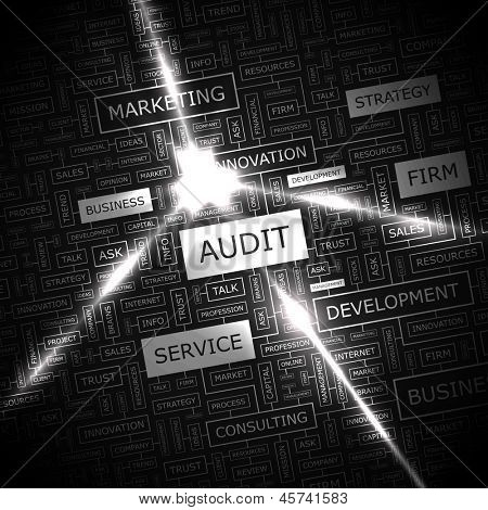 AUDIT. Word cloud concept illustration.