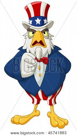 American bald eagle dressed as Uncle Sam pointing with his finger making I want you gesture