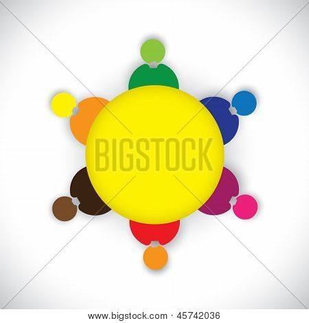 Company Employees Or Staff Members Togther As A Team- Vector Graphic