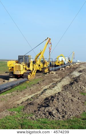Construction Site With Gas Pipeline