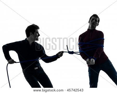 two caucasian young men prisoner shadow  white background