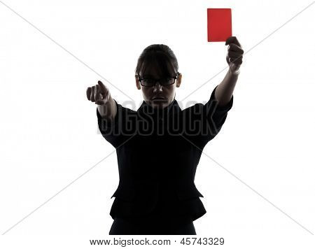 one business woman showing red card  silhouette studio isolated on white background