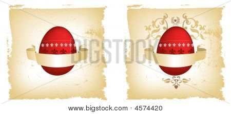 Eleborate Red And Gold Egg Grunge