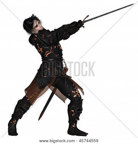 Dark Warrior Swinging a Sword