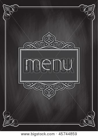 Menu design on a chalkboard background