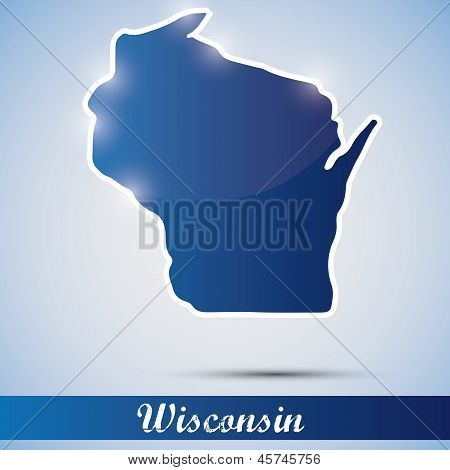 shiny icon in form of Wisconsin state, USA