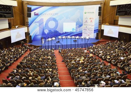 MOSCOW - NOVEMBER 14: Stage and audience at Forum Small Business - New Economy, dedicated to 10th anniversary of organization OPORA of RUSSIA, on November 14, 2012 in Moscow, Russia.