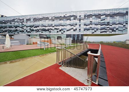 MOSCOW - AUG 20: Outdoor Disk area in Russian Business School Skolkovo - analog of Silicon Valley, August 20, 2012, Moscow, Russia. Disk is a ground of Campus and basis of its functionality.