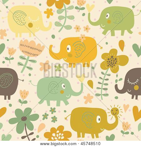 Funny cartoon elephants in flowers. Seamless pattern can be used for wallpapers, pattern fills, web page backgrounds,surface textures.