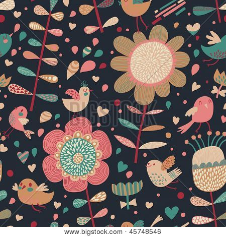 Bright cartoon seamless pattern with cute birds in flowers. Seamless pattern can be used for wallpapers, pattern fills, web page backgrounds,surface textures. Gorgeous seamless floral background