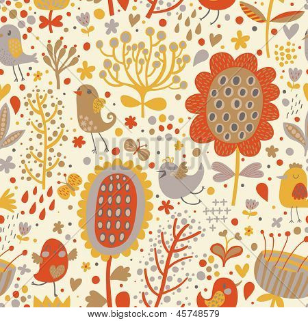 Bright seamless pattern with cute birds and flowers. Seamless pattern can be used for wallpapers, pattern fills, web page backgrounds,surface textures. Gorgeous seamless floral background