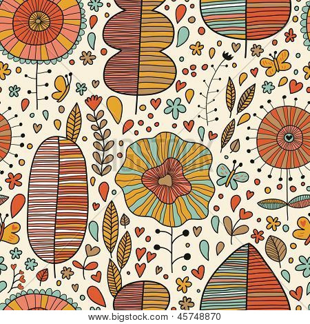 Summer floral seamless pattern made of leafs, flowers and butterflies. Seamless pattern can be used for wallpapers, pattern fills, web page backgrounds,surface