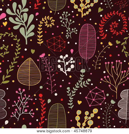 Bright leafs on dark wallpaper. Seamless pattern can be used for wallpapers, pattern fills, web page backgrounds,surface textures. Gorgeous seamless floral background
