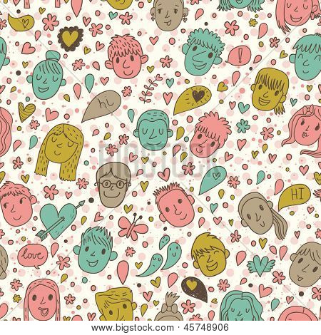 Funny cartoon faces in vector. Cute romantic background in bright colors. Boy, girl, hearts, butterflies and bubbles. Seamless pattern can be used for wallpapers, pattern fills, web page backgrounds